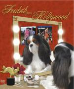 silly picture of a dog looking into a beauty mirror like in old hollywood