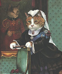 A cartoon cat is dressed in Victorian garb