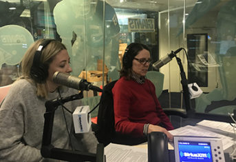 Ann hohenhaus and carly fox in the Sirius XM studios