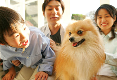 A happy family with a dog