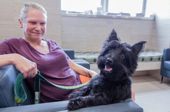A woman sits on a chair in the waiting room with her happy dog