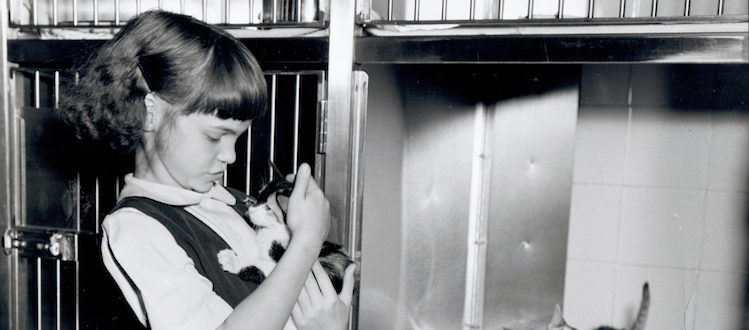 Young girl with kitten standing next to cage