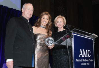 Dylan Lauren receiving the Brooke Astor Award from AMC CEO Kate Coyne and AMC Board Chair Robert Liberman