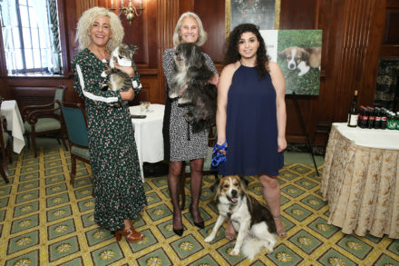 Three women at an event pose alongside their pets