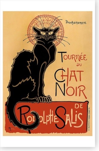 A French poster with a skinny cartoon cat on it