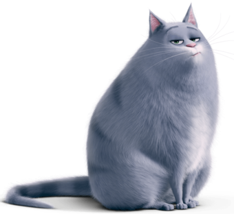 An overweight cartoon cat