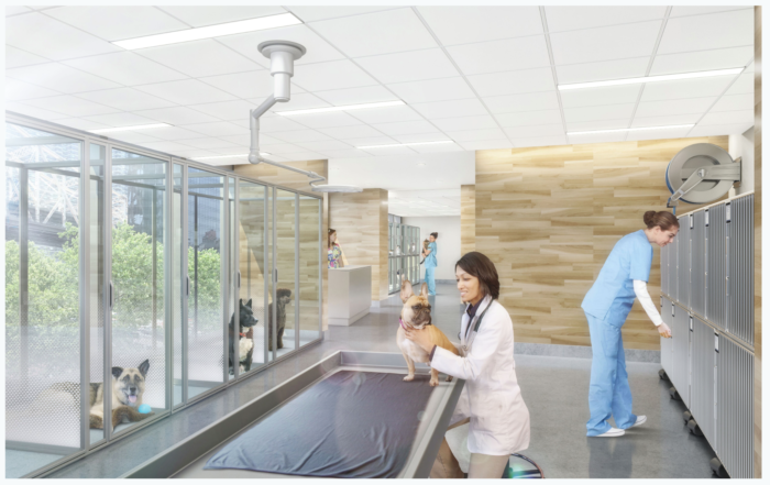 A rendering of of the new special care unit at the Animal Medical Center