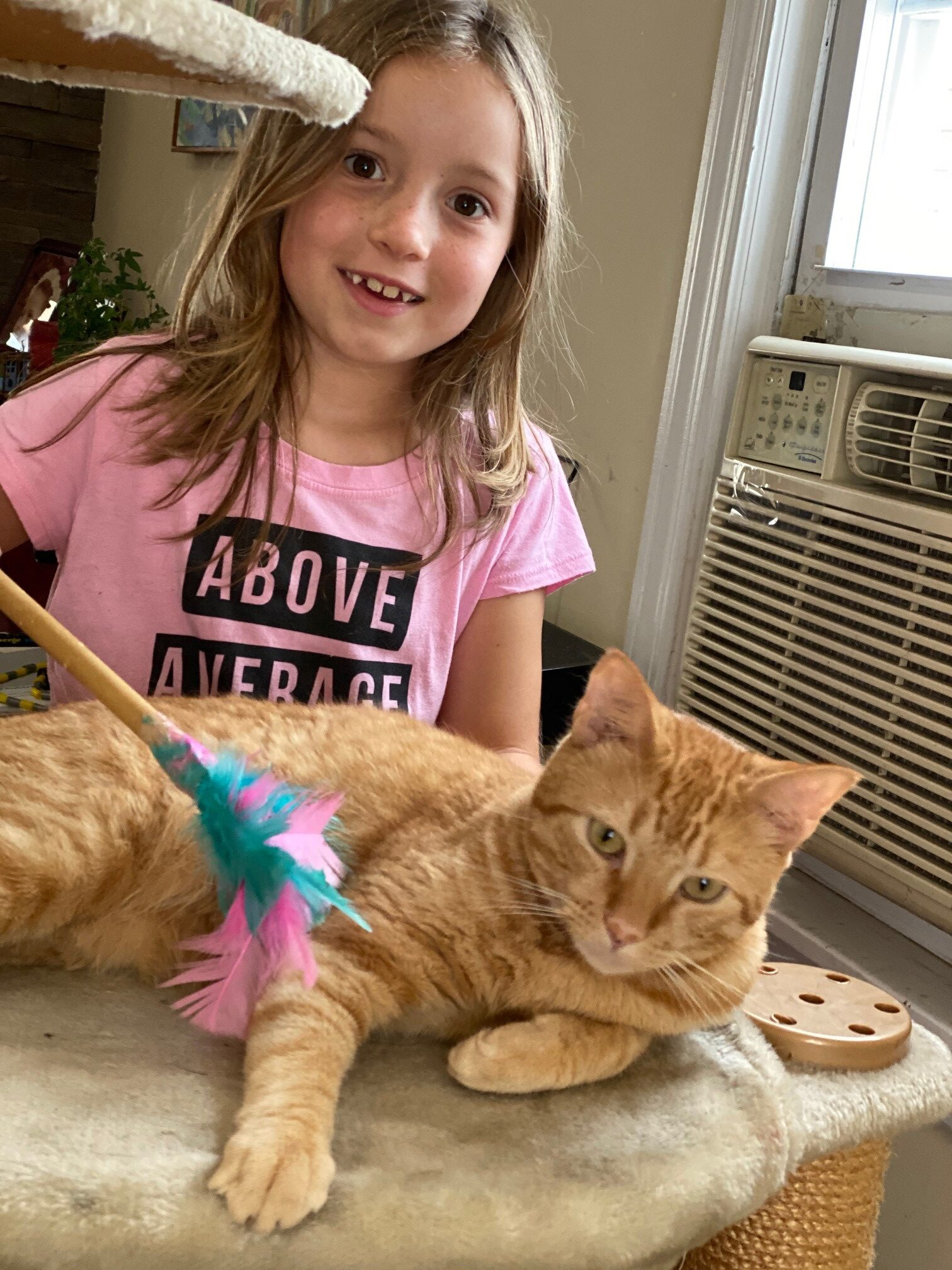 Child playing with her cat using feather cat toy made during camp