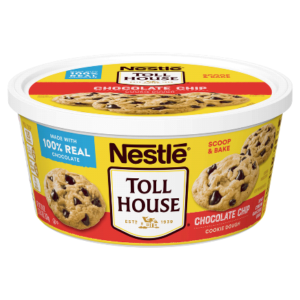 A tub of unbaked cookie dough